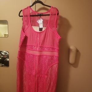 Plus size pink lace dress Lane Bryant